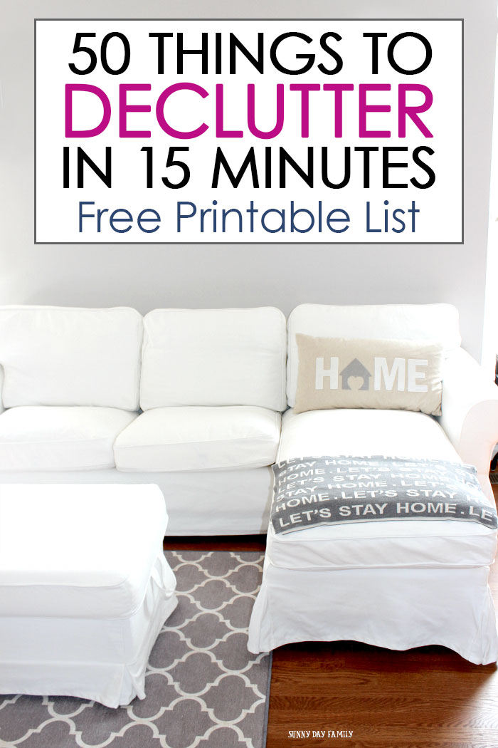 Declutter your whole house in 15 minutes a day! Forget tidying up, this system actually works for busy moms. Get a FREE printable decluttering checklist of 50 decluttering projects you can do in just a few minutes a day. The easiest way to declutter and organize your whole house! #declutter #decluttering #decluttermyhouse #tidyingup #klonmari #organize