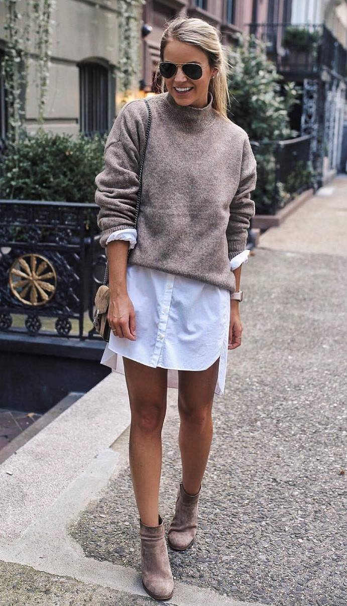 incredible fall outfit / boots + white shirt dress + sweater + bag