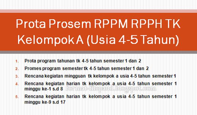 Prota Prosem Rppm Rpph Tk Kelompok A Usia 4 5 Tahun Sekolah Inti