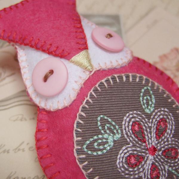 Handmade owl plushie plush animal bird with decorative embroidery plush
