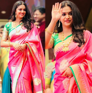 Keerthy Suresh in Saree for Opening of AVR Jewellers