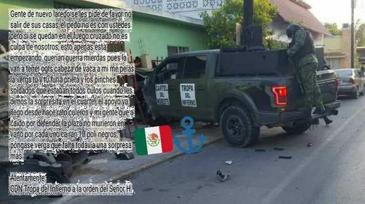 """""""Querían guerra mierd..s la van a tener ogts"""", Sicarios de """"Tropa del Infierno"""" del CDN amenazan a policías y a el Gobernador Nuevo Laredo, Tamaulipas"""