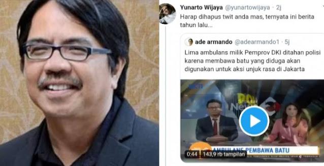 Yunarto Sentil Ade Armando Posting Ambulans DKI Bawa Batu: Berita Tahun Lalu