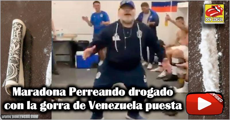 Maradona Perreando drogado con la gorra de Venezuela puesta