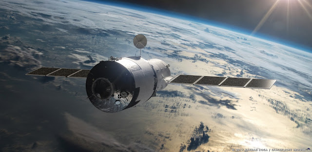 Artist's rendering of China's Tiangong-1 space station. Image Credit: Nathan Koga / SpaceFlight Insider