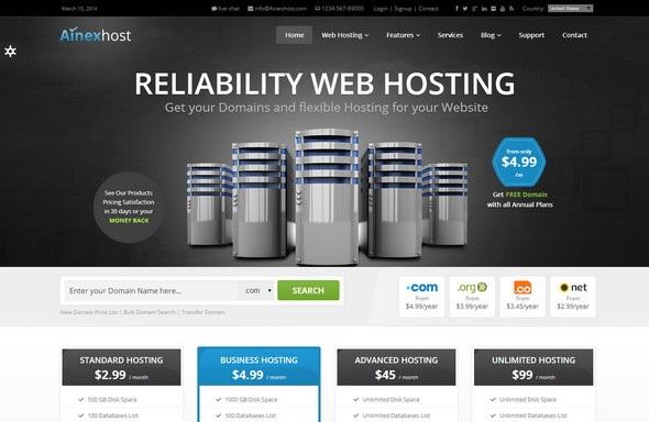 Ainex Host - Simply Responsive WordPress Template
