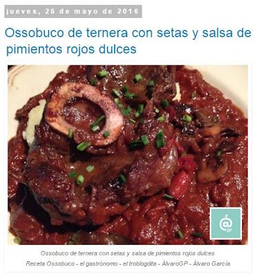 Recetas TOP10 de El Gastrónomo en mayo 2016 - Ossobuco de ternera con setas y salsa de pimientos rojos dulces