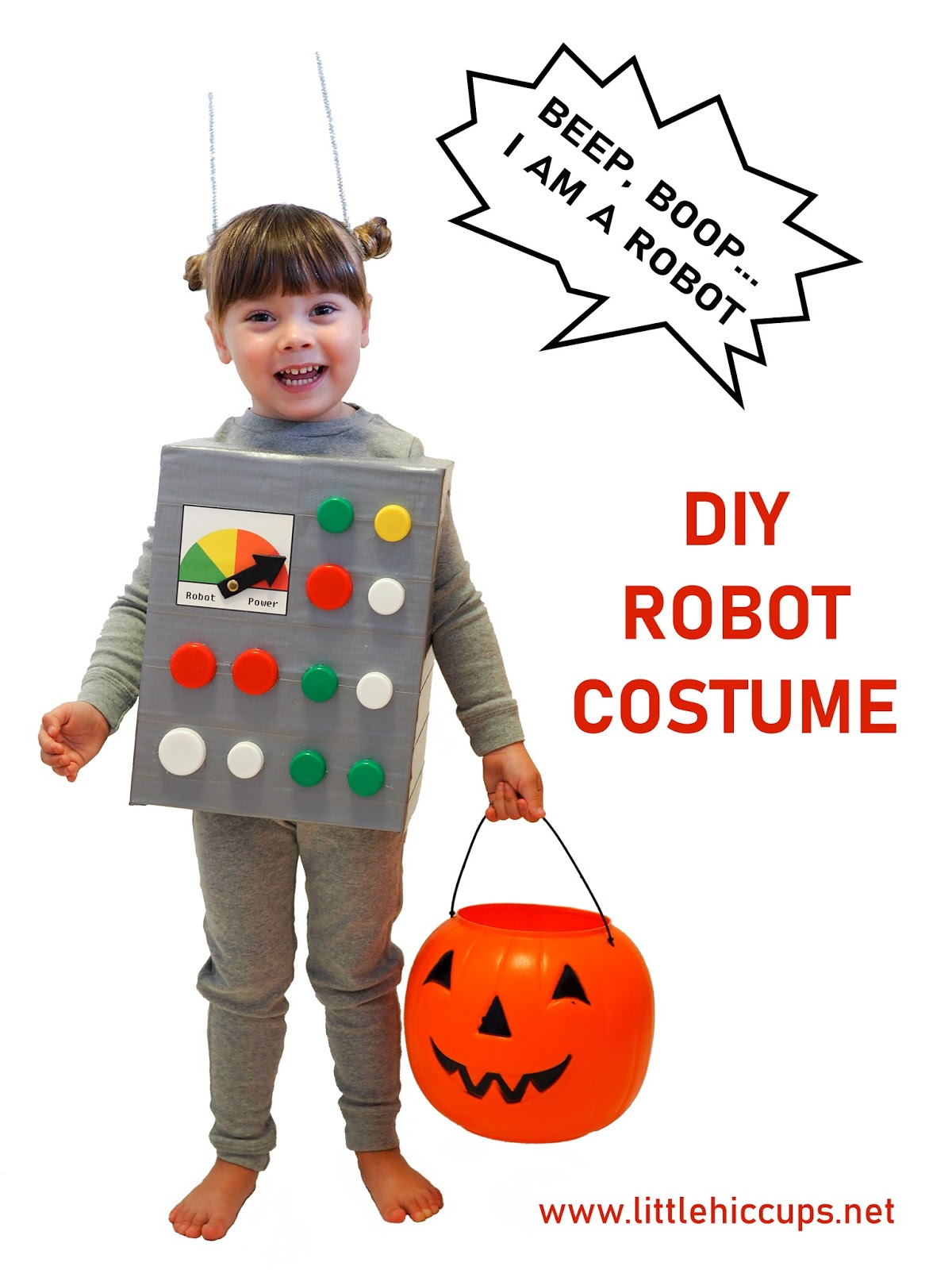 This costume is really easy to make and mostly consists of items youu0027ll have at home - including recycling! You can make it to pretty much any size (just ...  sc 1 st  Little Hiccups & Little Hiccups: Last Minute Halloween DIY: Robot Costume