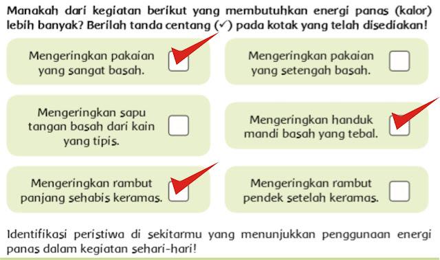Kunci Jawaban ceklis tentang energi panas pada buku siswa kelas V tema 6 sub tema 1 pembelajaran 5.