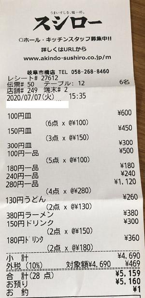 スシロー 岐阜市橋店 2020/7/7 飲食のレシート