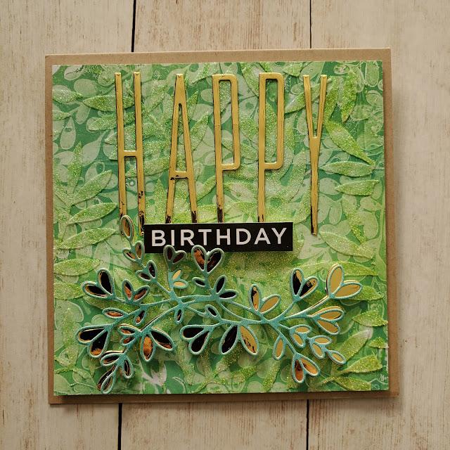 birthday card, pretty pink posh, tonic studios, tim holtz, gel press