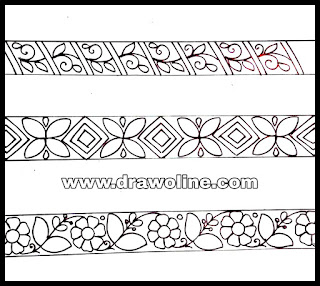 Lace border design drawings for hand embroidery sarees designs/saree border design drawings for embroidery/lace border embroidery design