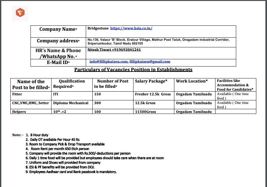 Bridgestone Company Urgent Job Opening For Diploma Mechanical & ITI Fitter