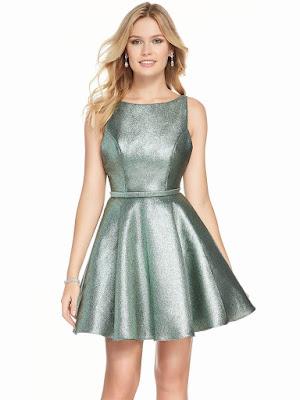 Bateau neckline Alyce Short Party Dress Sea Green Color