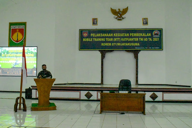 Korem 071/Wijayakusuma Gelar Pembekalan MTT Katpuanter TNI AD TA. 2021