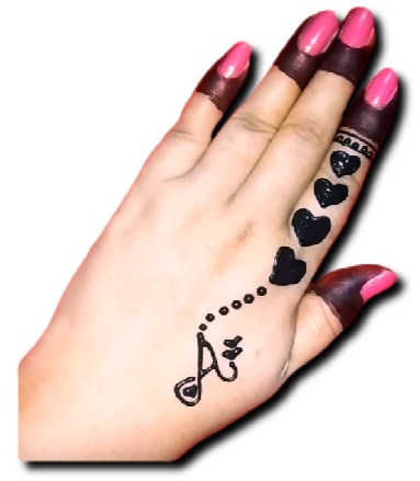 Back Hand Mehndi Design of Heart