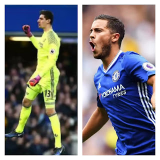 Chelsea duo Hazard And Courtois Back training