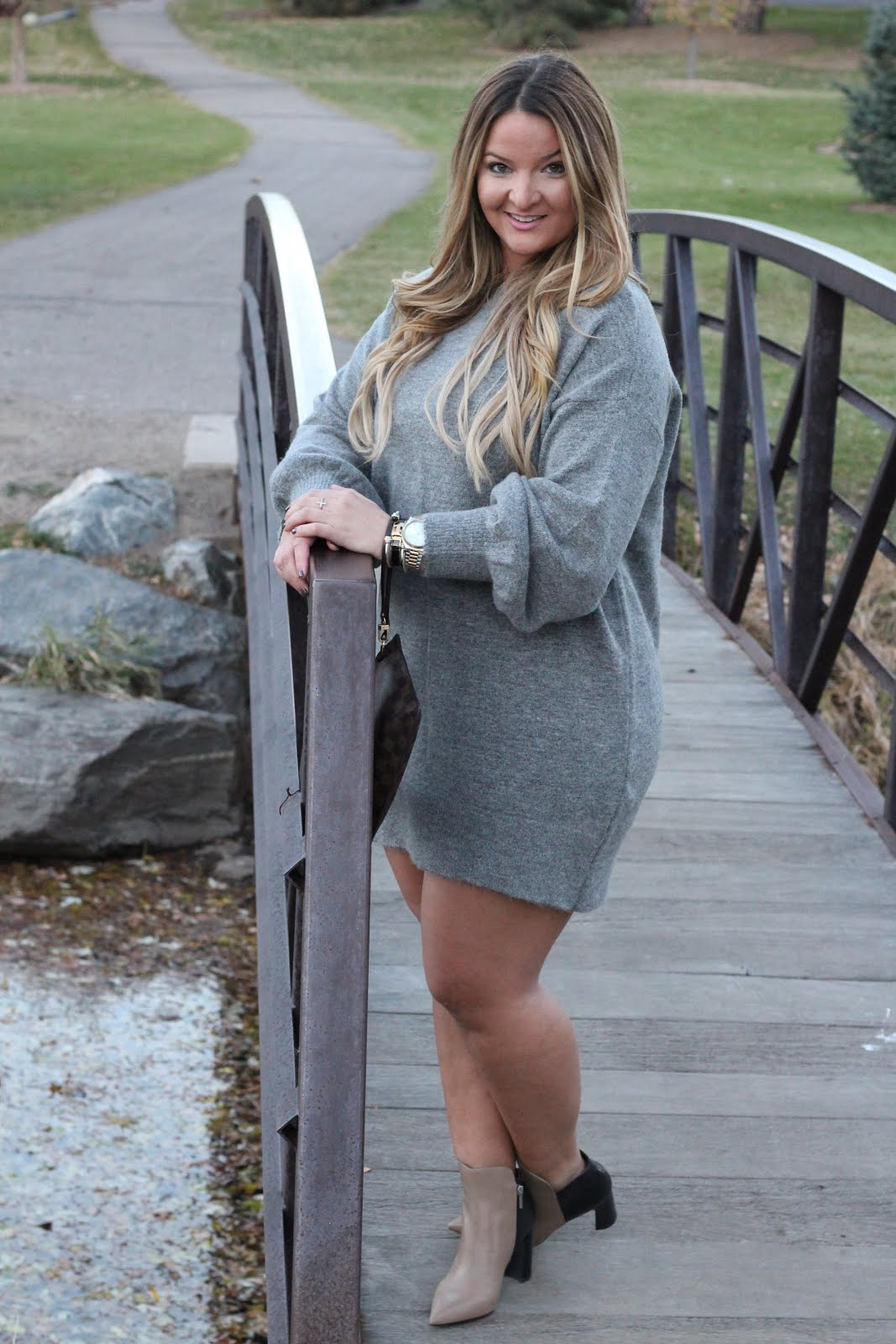 Grey Sweater Dress on Repeat  by Denver fashion blogger Delayna Denaye