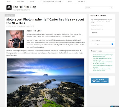 Interviews online with Jeff Carter With the recent launch of the X-T2 and his work with Fujifilm, there...
