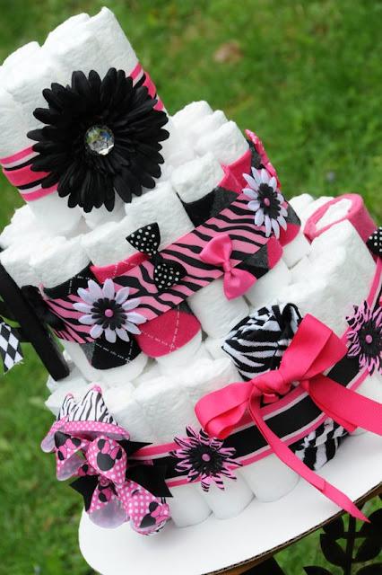 DIY Bolo de Fraldas rosa e preto, um luxo de Decoração!
