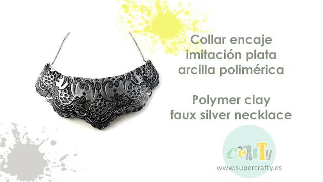 collar imitación plata arcilla polimérica