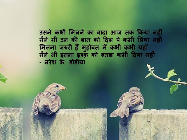 मैने भी इतना इश्क़ को रुतबा कभी दिया नहीं Hindi Muktak By Naresh K. Dodia