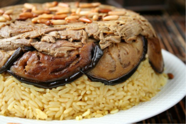 Eggplant and rice (Makloobet betenjan)