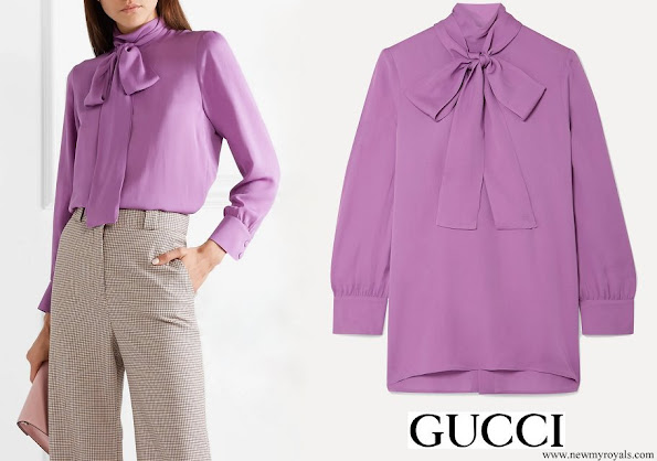 Kate Middleton wore Gucci Purple Pussy-bow Silk crepe Blouse