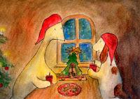 Postikorttikuvitus, missä Hulmu Hukka ja Haukku Koira syövät pipareita ja juova glögiä kynttilöiden valossa jouluna / Postcard illustration of Hulmu and Haukku dog drinking glogg and eating biscuits in candlelight in Christmas