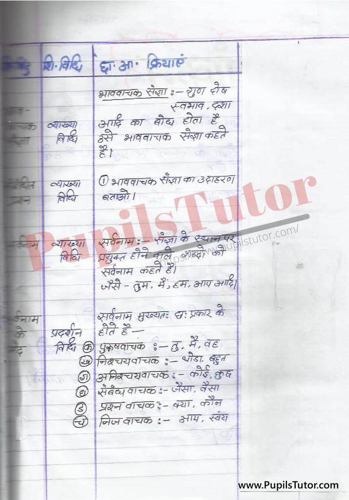 हिंदी पाठ योजना संज्ञा सर्वनाम