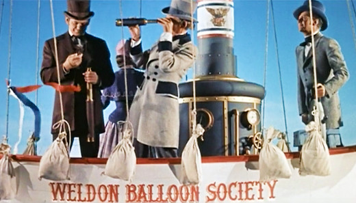 Charles Bronson, Henry Hull and David Frankham aloft in a balloon, Master of the World, 1961