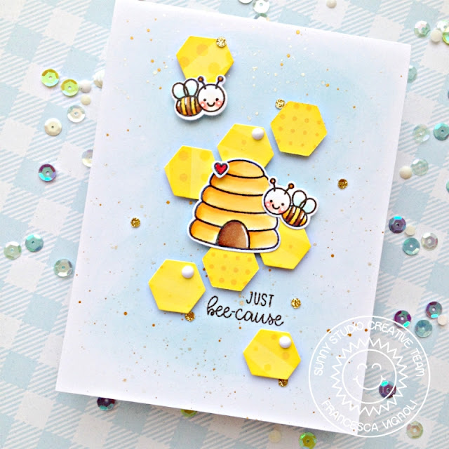 Sunny Studio Stamps: Just Bee-cause Frilly Frame Dies Because Cards by Franci Vignoli