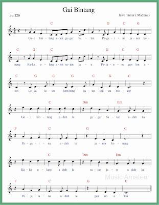 not balok lagu gai bintang