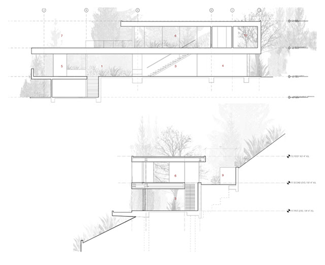Side drawing of the modern house