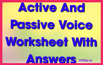 Active And Passive Voice Worksheet With Answers