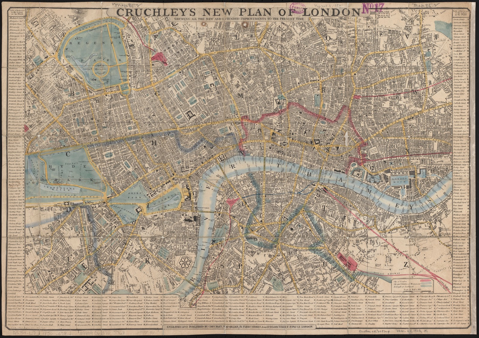 Cartina Metro Londra Con Monumenti.Rerum Romanarum Mappa Di Londra Cruchley 1850