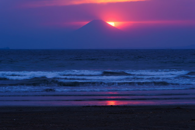 夕日のダイヤモンド富士~岩井海岸(南房総市)