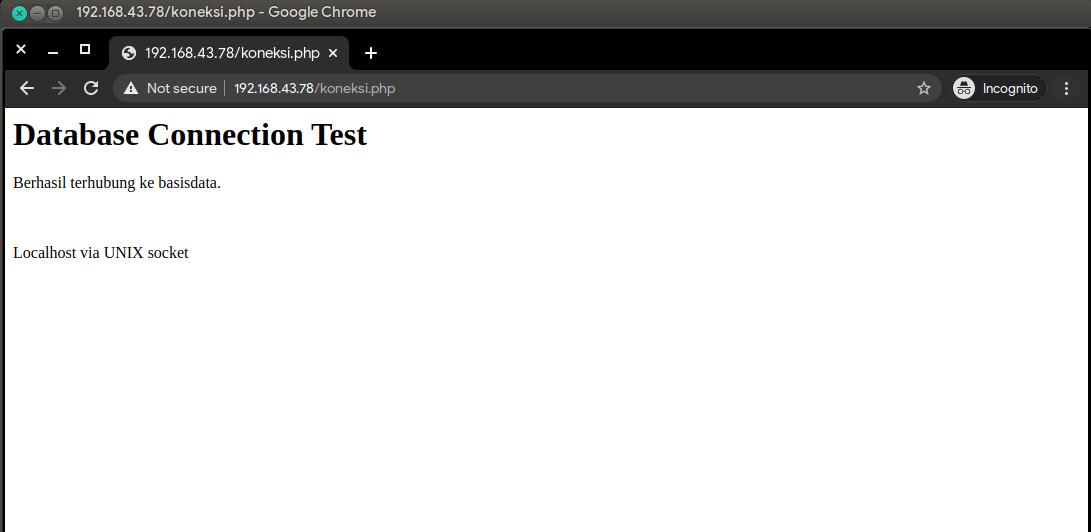 Hasil pengujian koneksi PHP ke MariaDB