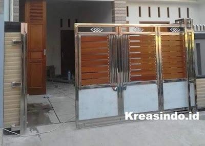 pintu rangka stainless kombinasi kayu murah