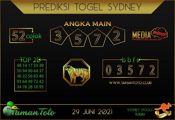 Prediksi Togel SYDNEY TAMAN TOTO 29 JUNI 2021