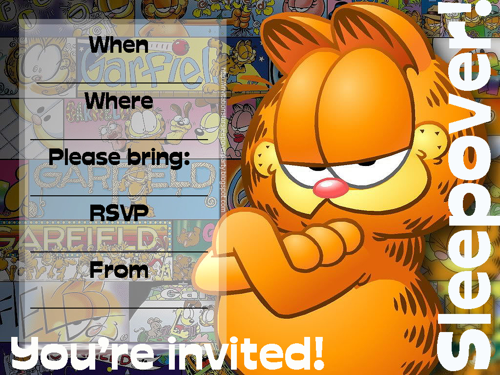 Invitations For Sleepover Party Garfield Birthday