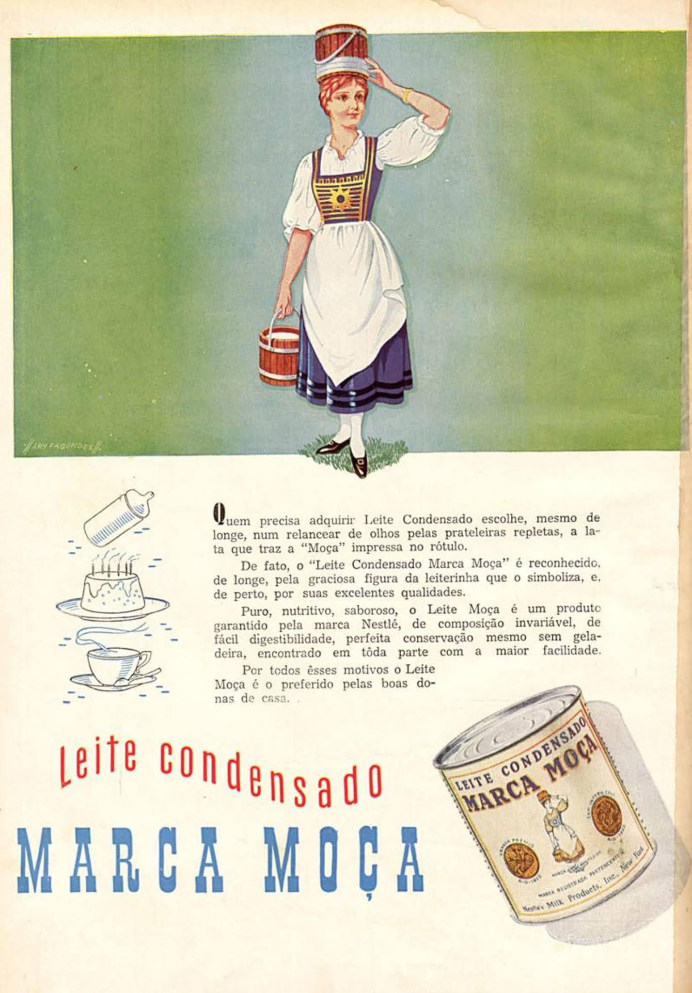 Anúncio antigo do Leite Moça apresentando seus vários usos em 1950