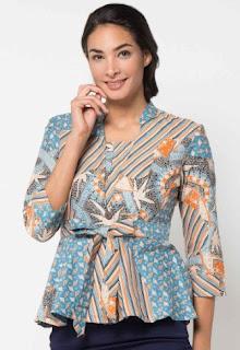 Model baju batik kerja atasan lengan panjang