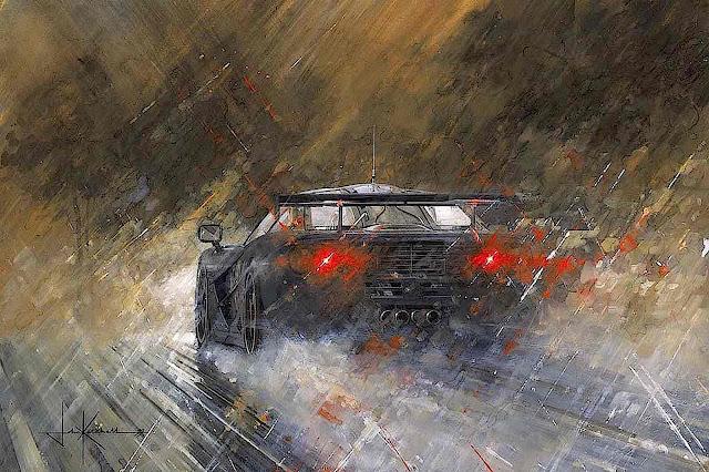 a John Ketchell painting of traffic in heavy rain