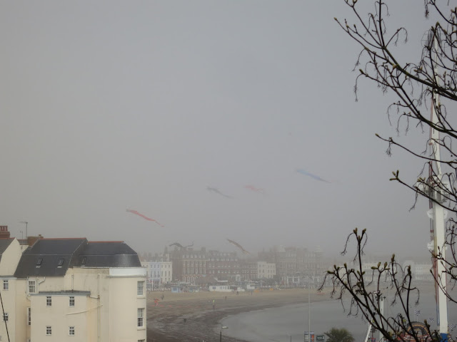 View across Weymouth Seafront from the Nothe Steps at 2015 Kite Festival