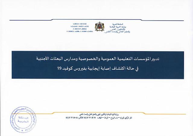 مذكرة رقم 046/20 بتاريخ 15 شتنبر 2020 بشأن مسطرة تدبير حالات الإصابة بفيروس كوفيد-19 بالوسط المدرسي.