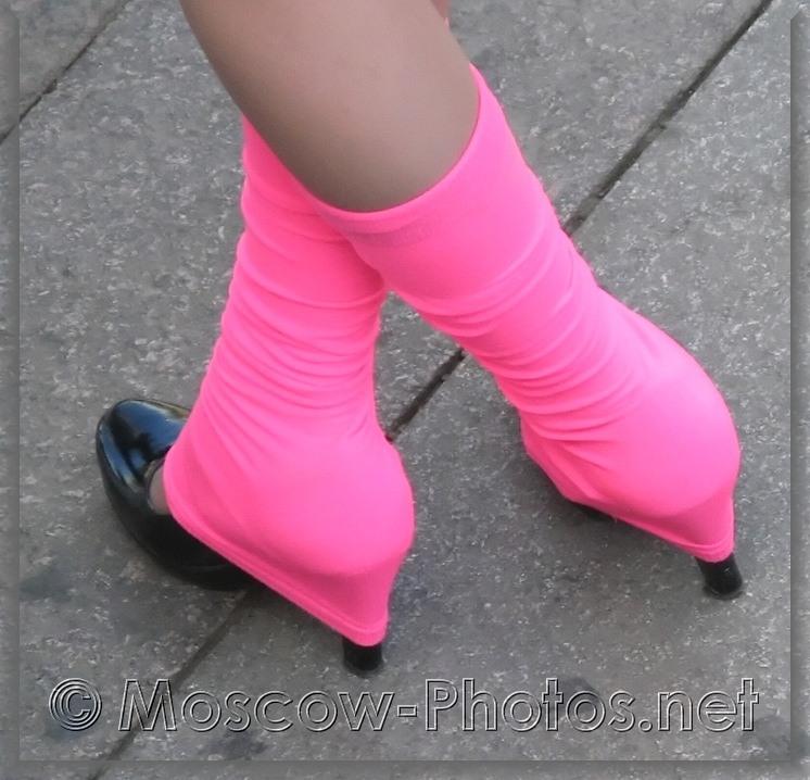 Black High Heels Shoes Under Pink