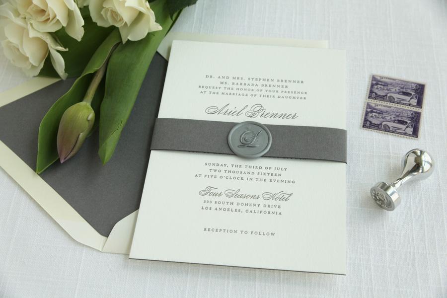 Grey Letterpress Invitations Sweetly Said Press