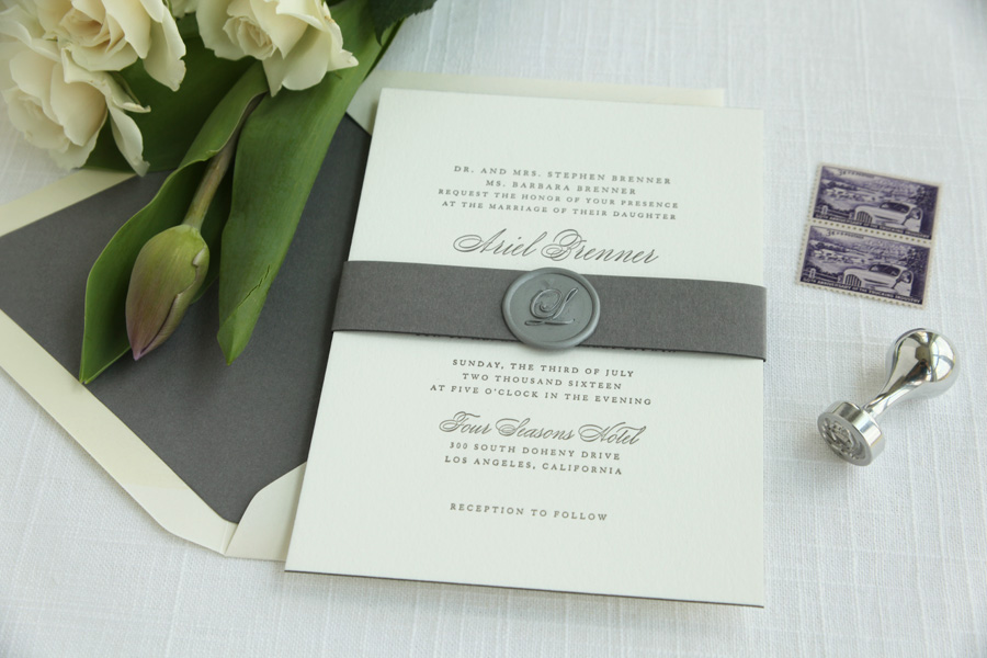 Grey Letterpress Invitations | Sweetly Said Press