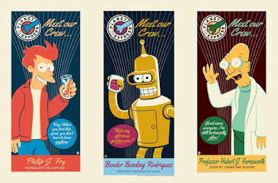 San Diego Comic-Con 2016 Exclusive Futurama Character Screen Prints by Dave Perillo x Dark Ink Art x Acme Archives Direct – Fry, Professor Farnsworth & Gold Variant Bender